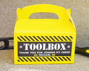 Construction Birthday Party Personalized Favor Box