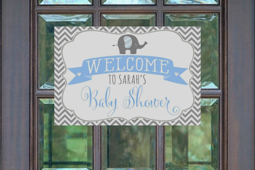 Elephant Boy Baby Shower Welcome Sign