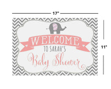 Load image into Gallery viewer, Elephant Baby Shower Decorations 11x17 Welcome Sign