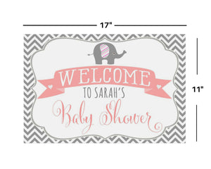 Elephant Baby Shower Decorations 11x17 Welcome Sign