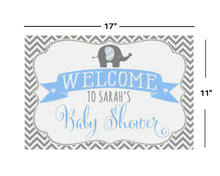 Load image into Gallery viewer, Elephant Boy Baby Shower 11x17 Welcome Sign