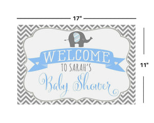 Elephant Boy Baby Shower 11x17 Welcome Sign