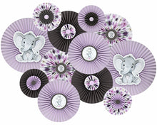 Load image into Gallery viewer, Elephant Baby Shower Lavender Gray Paper Rosettes