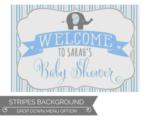 Boy Baby Shower Welcome Sign Elephant Theme