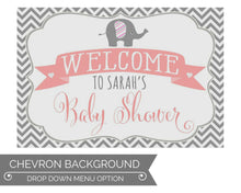 Load image into Gallery viewer, Elephant Baby Shower Decorations Welcome Sign Chevron