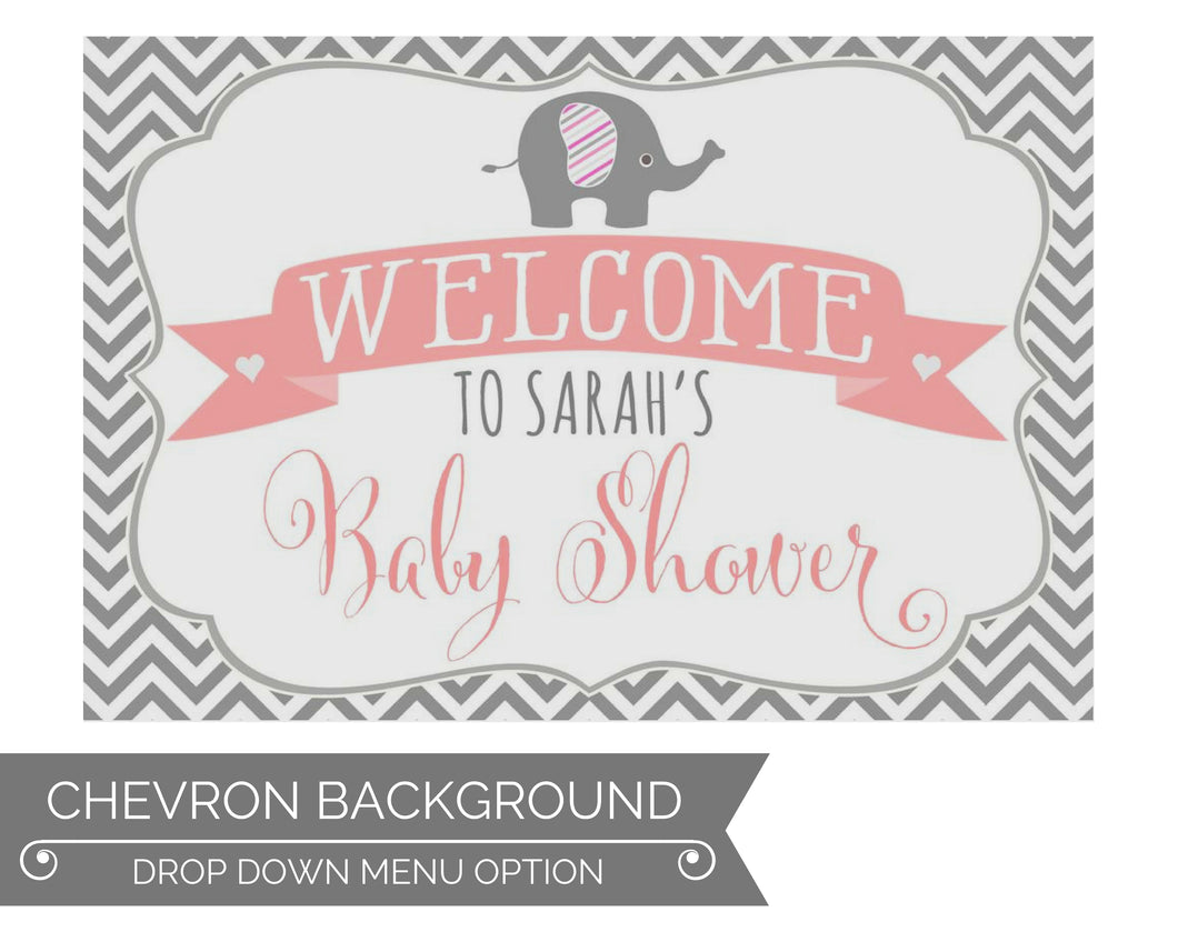 Elephant Baby Shower Decorations Welcome Sign Chevron