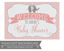 Load image into Gallery viewer, Girl Elephant Baby Shower Decorations Welcome Sign