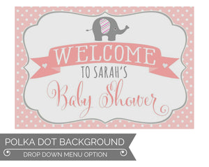 Girl Elephant Baby Shower Decorations Welcome Sign
