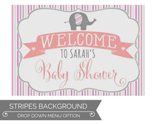 Load image into Gallery viewer, Girl Elephant Baby Shower Decorations Stripes Welcome Sign