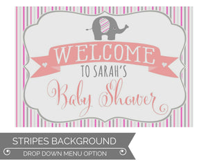 Girl Elephant Baby Shower Decorations Stripes Welcome Sign