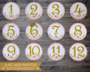 First Birthday Photo Banner Floral Princess Party