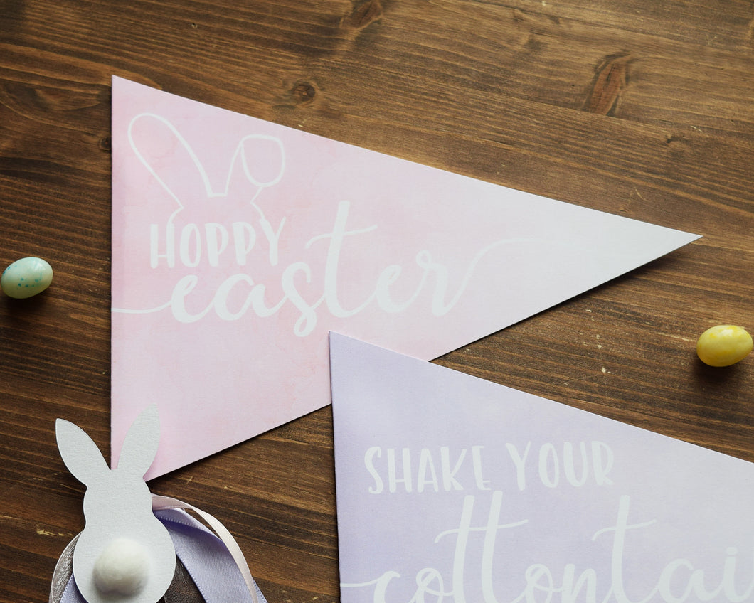 Hoppy Easter Basket Pennant Flag