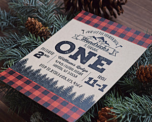 Buffalo Plaid Pine Trees Lumberjack Birthday Party Invitation