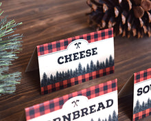 Load image into Gallery viewer, Lumberjack Birthday Food Tent Signs