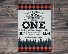 Load image into Gallery viewer, Lumberjack Birthday Invitation 5x7 Buffalo Plaid