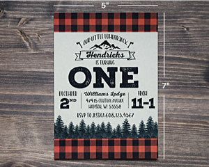 Lumberjack Birthday Invitation 5x7 Buffalo Plaid