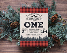 Load image into Gallery viewer, Lumberjack Birthday Invitation Buffalo Plaid