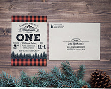 Load image into Gallery viewer, Lumberjack Buffalo Plaid Birthday Party Invitation Set