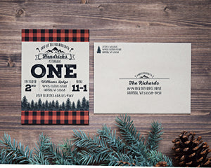 Lumberjack Buffalo Plaid Birthday Party Invitation Set