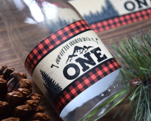 Lumberjack First Birthday Water Bottle Label