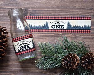 Lumberjack Wild One Birthday Bottle Labels