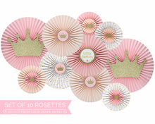 Load image into Gallery viewer, Princess Baby Shower Decorations Pink and Gold Paper Fans