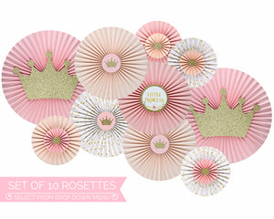 Princess Baby Shower Decorations Pink and Gold Paper Fans