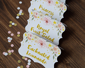 Princess Birthday Party Decorations Food Labels