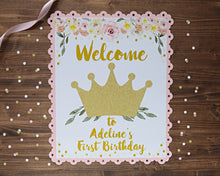 Load image into Gallery viewer, Princess Birthday Party Decorations Door Sign