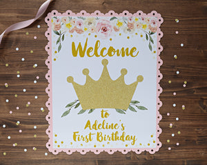 Princess Birthday Party Decorations Door Sign