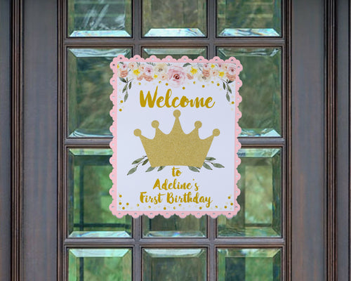 Princess Party First Birthday Welcome Sign