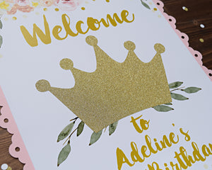 Princess 1st Birthday Party Decorations Welcome Sign