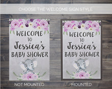 Load image into Gallery viewer, Girl Baby Shower Elephant Welcome Sign