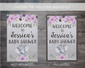 Girl Baby Shower Elephant Welcome Sign