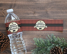 Load image into Gallery viewer, Water Bottle Labels Lumberjack First Birthday