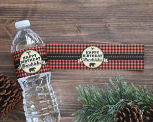 Water Bottle Labels Lumberjack First Birthday