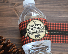 Load image into Gallery viewer, Wild One Lumberjack Birthday Water Bottle Labels