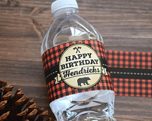 Wild One Lumberjack Birthday Water Bottle Labels