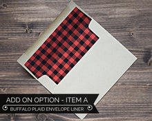 Load image into Gallery viewer, Buffalo Plaid Envelope Liner Lumberjack Birthday Invitation