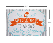 Load image into Gallery viewer, Woodland Baby Shower Fox Welcome Sign Decoration