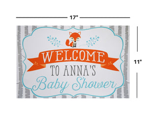 Woodland Baby Shower Fox Welcome Sign Decoration