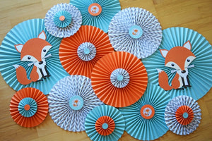 Woodland Baby Shower Fox Decorations Teal and Orange