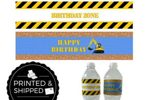 Construction Birthday Water Bottle Labels