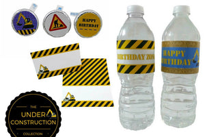 Construction Birthday Party Water Bottle Stickers