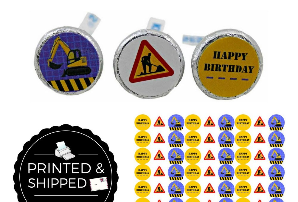 Construction Birthday Party Favor Stickers
