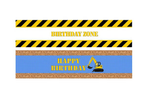 Construction Birthday Zone Water Bottle Label