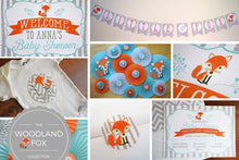 Load image into Gallery viewer, Woodland Baby Shower Fox Decorations in Teal and Orange