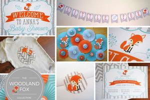 Woodland Baby Shower Fox Decorations in Teal and Orange