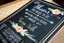 Load image into Gallery viewer, Rustic Bridal Shower Brunch Invitation Chalkboard Design