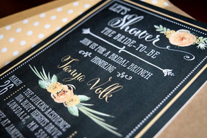 Rustic Bridal Shower Brunch Invitation Chalkboard Design